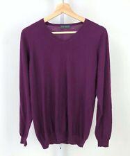 JOHN SMEDLEY England Mens Cashmere Sweater V-Neck Long Sleeve Purple Size M Flaw