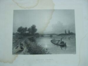 ANTIQUE PRINT C1800'S RIVER TRENT WYCHNOR ENGRAVING RIVER SCENE BARGE STAFFORD
