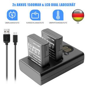 2x Akku EN-EL14 7.4V 1500mAh+LCD Ladegerät Für Nikon P8000 D3100 D3400 D5600