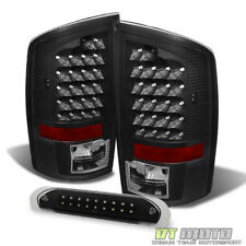 2002-2006 Dodge Ram 1500 2500 3500 Black LED Tail Lights+3rd Brake Cargo Lamps