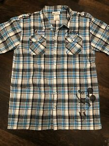 Disney Parks Boys Youth XL Mickey Mouse American Original Blue Snap Button Up