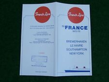 SS France folleto crucero Bremerhaven New York 1972/73 cruise brochure