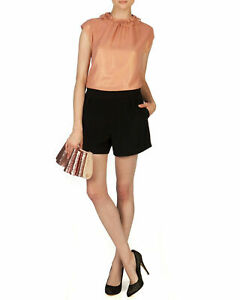 Ted Baker Ruffle High Neck Romper Size 0 US 00 XXS Blush Black Cap Sleeve FLAW