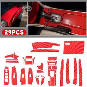 29PCS Carbon Fiber Style Car Interior Cover Trim Red for Honda Accord 2008-2012