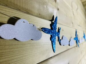 Aeroplane & Cloud Glitter Bunting Garland Baby Fun Event Room Decoration 5-7ft☁️