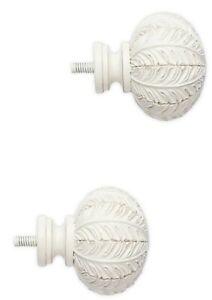 Cambria Classic Complete Leaf Finials in Satin White Set of 2 Elegant
