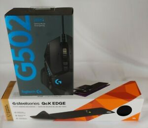 NEW Logitec  G502 Gaming Mouse and SteelSeries QcK Edge Cloth Gaming Mouse Pad