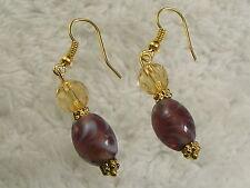 Goldtone Marbled Purple Glass Bead Pierced Earrings (A64)
