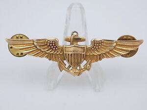 Original US Navy USMC Naval Aviator 10kt GF Gilt Wings #250