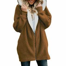 Women Winter Fuzzy Fluffy Coat Fleece Fur Jacket Outerwear Hoodies Stitch Color