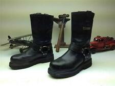 BLACK LEATHER HARLEY DAVIDSON HARNESS MOTORCYCLE RIDER STEEL TOE BOOTS SIZE 8 D