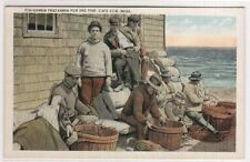 Fishermen Prep for Sea Cape Cod Ma 1920c postcard