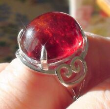 BIG! 28.60CT NATURAL UNHEATED/UNTREATED HESSONITE GARNET RING 925 SILVER.7.5.