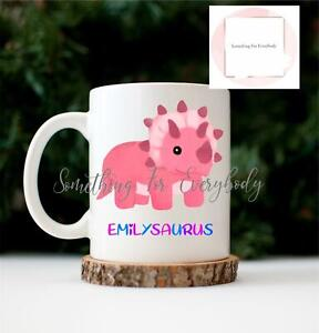 Personalised Pink Dinosaur Cup Ceramic Novelty Mug Birthday Gift Hot Chocolate