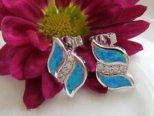 Ohrstecker 925 Sterling Silber Ohrringe Blau-Opal Design Opalohrringe 13x8mm