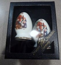 Santa & Tree Reutter Porzellan Germany Salt Pepper Shakers - Egg Shaped