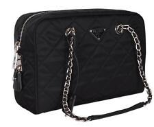 67110ced09f414 PRADA 1bb903 Black Quilted Nylon Tessuto Impuntu Chain Strap Shoulder Purse
