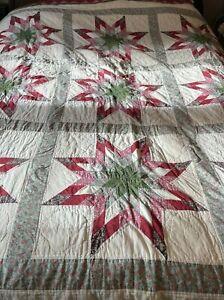 Vintage Hand Stitched Cutter Quilt Star Pattern 80x85