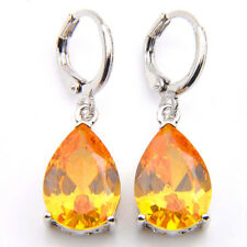 Water drop Style Genuine Yellow Citrine Gemstone Silver Dangle Hook Earrings