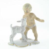 Schaubachkunst Porzellan Art Deco Figur Amorette Cupido nackter Knabe mit Ziege