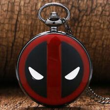 Superhero Deadpool Design Quartz Pocket Watch Movie Red Case Analog Necklace
