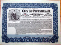 1911 Bond Certificate: 'City of Pittsburgh' - Pennsylvania PA