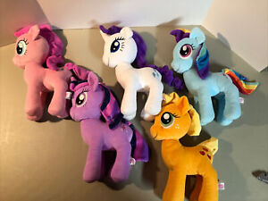 "My Little Pony FIM Lot Of 5 12"" Plush Pinkie Twilight Rarity Apple Jack Rainbow"