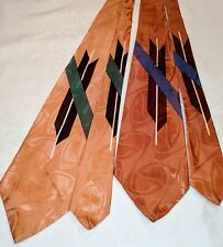 Two Matching 1940s 1950s Nos Bold Post-War Atomic Tie Cravat Vtg Esquire Mr T