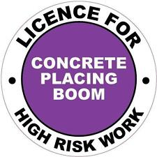 Hard Hat High Risk Licenced Concrete Placing Boom Sticker 50mm WHS OHS