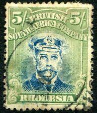 Rhodesia - 1913-19 5/- Azul & Pálido Amarillo-Verde SG 276 V24180 promedio usada