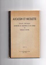 AUCASSIN ET NICOLETTE TEXT CRITIQUE HERMANN SUCHIER 1936 VG HC FRENCH EUROPEAN