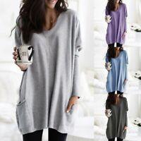 Women Long Sleeve V Neck Sweatshirt Pocket Loose Pullover Tunic Tops Blouse NEW