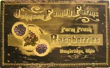 Johnson Family Farms Raspberries Harvest Fruit Country Metal Sign