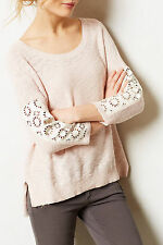 ANTHOPOLOGIE Moth Sz Large Pink TALISE PULLOVER Sweater Pleather Eyelet Panel