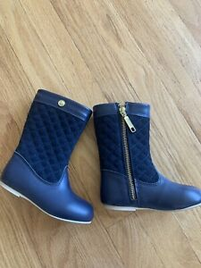 New Janie & Jack Quilted Riding Boots Toddler Size 8 Navy Blue Leather Suede