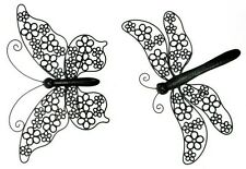 1 pair of 53cm Metal Butterfly & 53cm Dragonfly Metal Wall Art Hanging -Set of 2
