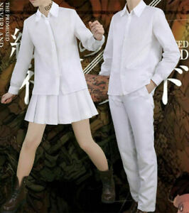 White The Promised Neverland Emma Norman Ray Shirt Skirt Uniform Cosplay Costume