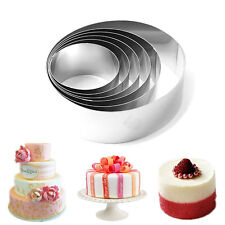 New 6Pcs Stainless Steel Round Circle Cookie Fondant Cake Mold Mould Mousse Ring