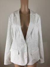 Lane Bryant Black And white striped Career Work classic Blazer jacket Size 18