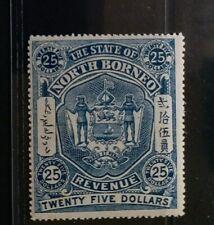 NORTH BORNEO 1894 $25 Revenue arm Mint Never Hinged