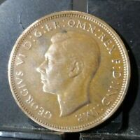 CIRCULATED 1944 1/2 PENNY UK COIN (90519)1.....FREE DOMESTIC SHIPPING!!!!!