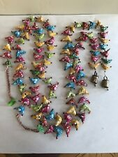 Little Stuffed Fabric Birds Beads And Bells Hanging Decor Or Outdo Wind Chimes