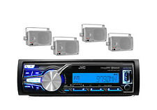 KD-X31MBS Marine Boat Bluetooth iPod iPhone Input Radio Stereo 4 Silver Speakers