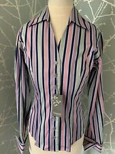 T M Lewin Woman Shirt Bnwt Of £69 Size 6 Wide Stripe