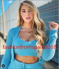 ZARA NEW WOMAN RIBBED KNIT TOP TRF CROP STRAPPY BLUE S,M,L 5755/124