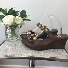 Russell and Bromley Size 41 Uk 8 Brown leather wedges slip on summer sandals VGC
