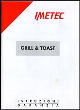 Manuale Uso-Use & Maintenance-PIASTRA elettrica GRILL-ELEKTRISCHE KOCHPL IMETEC
