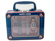 DISNEY:MICKEY MOUSE THREE BAND INTERCHANGEABLE ANALOG QUARTZ WATCH IN LUNCHBOX