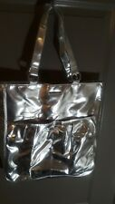 Clinique Silver Metallic Faux Leather Cosmetic Large Tote Bag Pink Lining