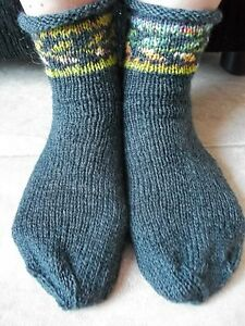 Hand knitted wool blend socks with Latvian design, charcoal gray